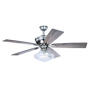 Huntley Satin Nickel 52-Inch Ceiling Fan With Light Kit