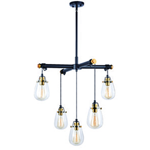 Kassidy Black and Natural Brass 26.5-Inch 5-Light Chandelier