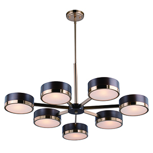 Madison Architectural Bronze with Natural Brass Seven-Light Chandelier