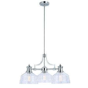 Beloit Satin Nickel 26-Inch Three-Light Chandelier