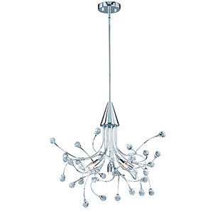 Astrid Chrome Five-Light Chandelier With Crystals