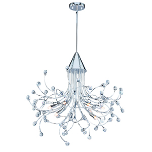 Astrid Chrome Nine-Light Chandelier With Crystals