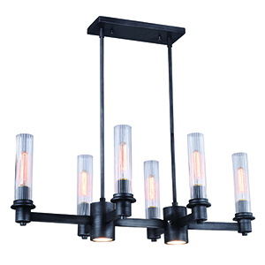 Astor Brushed Slate Eight-Light Chandelier
