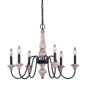 Georgetown Vintage Ash And Oil Burnished Bronze Six-Light Adjustable Chandelier