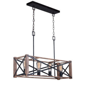 Colton Rustic Oak And Noble Bronze Four-Light Adjustable Pendant