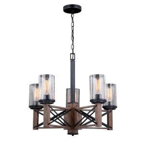 Colton Rustic Oak And Noble Bronze Five-Light Adjustable Chandelier