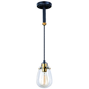 Kassidy Black and Natural Brass 5-Inch 1-Light Mini Pendant