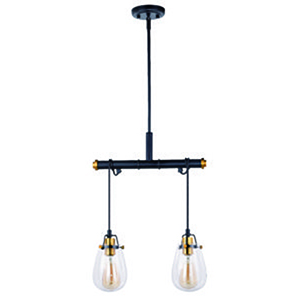 Kassidy Black and Natural Brass 16.5-Inch 2-Light Pendant