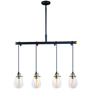 Kassidy Black and Natural Brass 32.5-Inch 4-Light Pendant