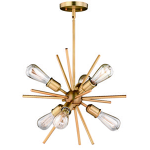 Estelle Natural Brass 19-Inch 6-Light Pendant