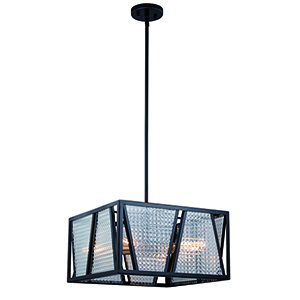Oslo Black with Natural Brass Four-Light Square Pendant