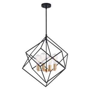 Rad Black and Natural Brass Four-Light Pendant