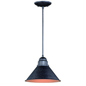 Outland Outer Aged Iron with Inner Light Gold 10-Inch 1-Light Outdoor Pendant