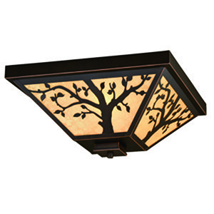 Alberta Burnished Bronze 14-Inch 3-Light Outdoor Flush Mount