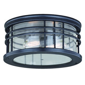 Wrightwood Vintage Black 12-Inch 2-Light Outdoor Flush Mount