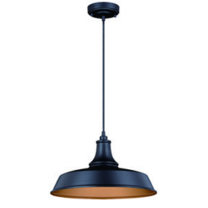 Dorado Dark Bronze Inner Light Gold 15-Inch 1-Light Outdoor Pendant