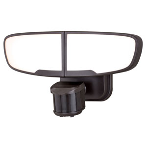 Omicron Bronze Two-Light LED Outdoor Motion Sensor Security Light