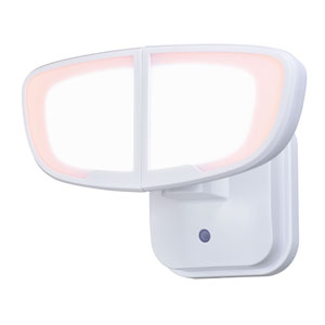 Omicron White Two-Light LED Outdoor Dusk to Dawn Security Light