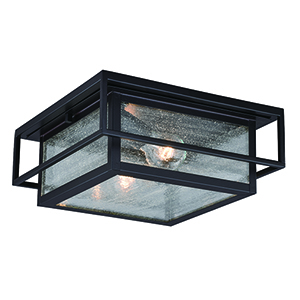 Hyde Park Espresso Bronze Two-Light Outdoor Flush Mount