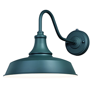 Dorado Hunter Green with Inner White Twelve-Inch One-Light Outdoor Wall Sconce