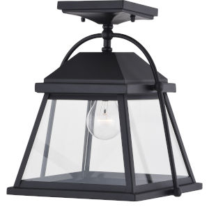 Lexington Textured Black One-Light Outdoor Semi Flush Mount