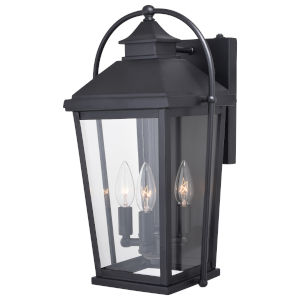 Lexington Textured Black Three-Light Outdoor Wall Sconce
