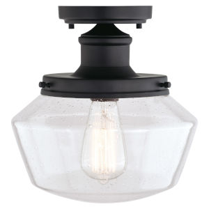 Collins Matte Black One-Light Outdoor Semi Flush Mount