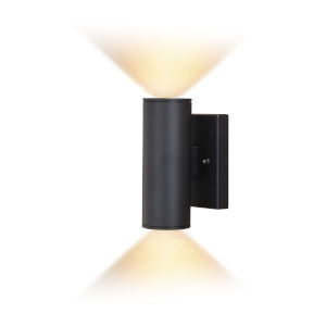 Chiasso Textured Black Eight-Inch Two-Light LED Outdoor Wall Sconce
