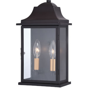 Bristol Oil Burnished Bronze and Light Gold Two-Light Outdoor Wall Sconce