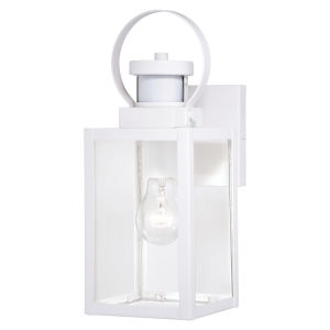 Medinah Textured White Motion Sensor Dusk to Dawn One-Light Outdoor Wall Sconce