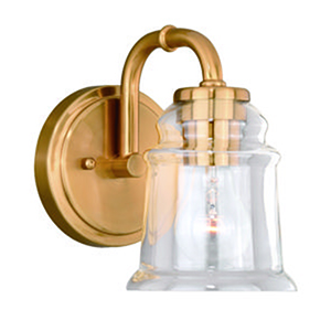 Toledo Natural Brass Five-Inch 1-Light Bath Sconce