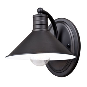 Akron Oil Rubbed Bronze and Inner Matte White One-Light Bath Sconce