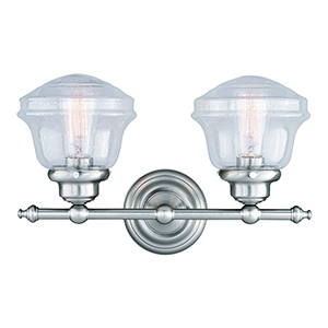 Huntley Satin Nickel Two-Light Reversible Vanity Light