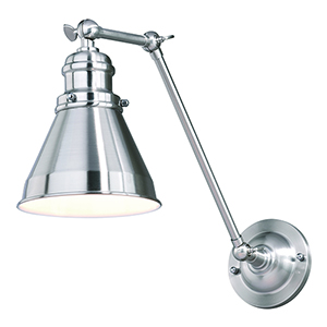 Alexander Satin Nickel with Inner White 6-Inch One-Light Adjustable Wall Sconce