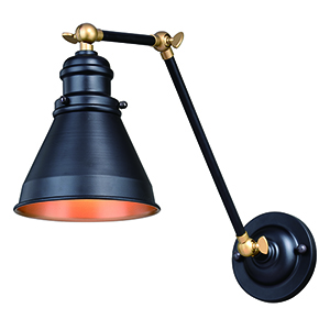 Alexander Oil Rubbed Bronze with Satin Brass Six-Inch One-Light Adjustable Wall Sconce