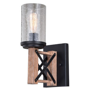 Colton Rustic Oak And Noble Bronze One-Light Wall Sconce