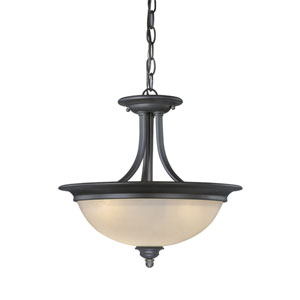 Avalon Oil Burnished Bronze Two-Light 15-Inch Semi-Flush Ceiling Light