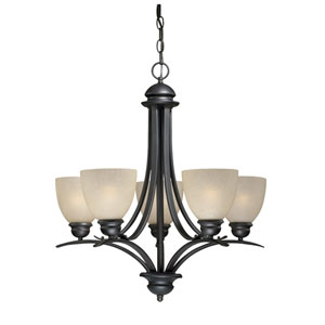 Avalon Oil Burnished Bronze Five-Light Chandelier