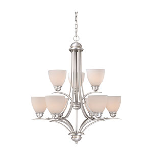 Avalon Brushed Nickel Nine-Light Chandelier