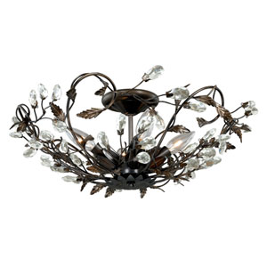 Jardin Architectural Bronze Four-Light Flush Mount with Clear Drop Crystals