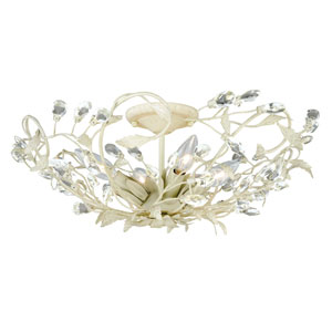 Jardin French Cream Four-Light Semi Flush with Clear Drop Crystals