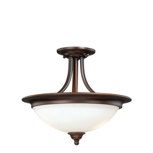 Lorimer Venetian Bronze Two-Light Semi Flush with Frosted Opal Glass