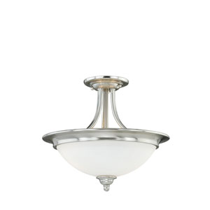 Lorimer Satin Nickel Two-Light Semi Flush with Frosted Opal Glass