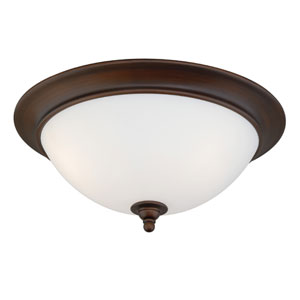 Lorimer Venetian Bronze Two-Light Flush with Frosted Opal Glass