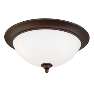 Lorimer Venetian Bronze Three-Light Flush Mount with Frosted Opal Glass