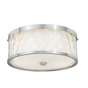 Vilo Satin Nickel Two-Light Flush Mount with Outer Water Glass
