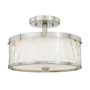 Vilo Satin Nickel Two-Light Semi Flush with Outer Water Glass