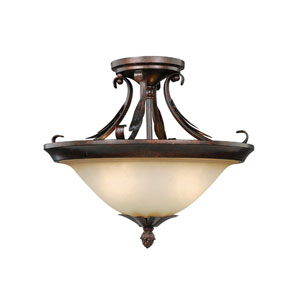 Coricelli Royal Bronze Two-Light Semi Flush with Brushed Cognac Glass