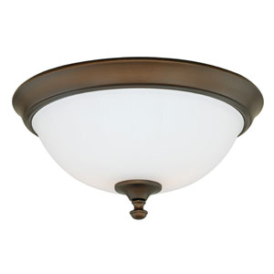 Claret Venetian Bronze Three-Light Flush Mount with Etched White Glass