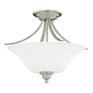 Darby Satin Nickel Two-Light Semi Flush with Etched White Glass